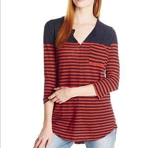 Lucky brand linen blend stripe pocket tunic top